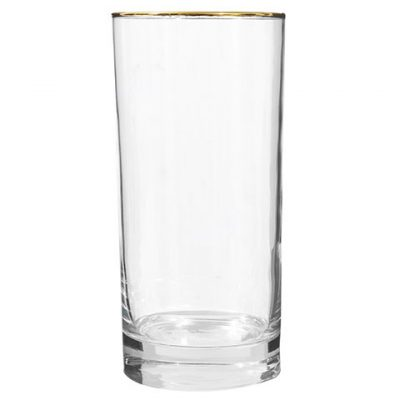 Gold-Rimmed Glass Tumblers – 16.3 oz.
