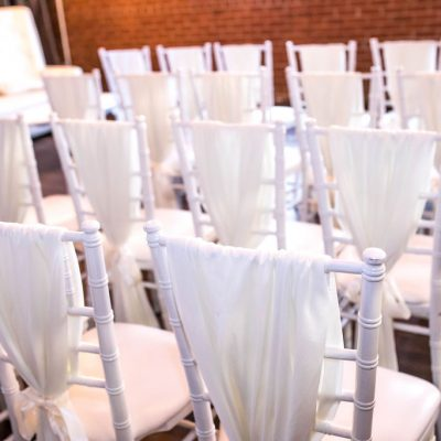 Ivory White Chair Sashes with Ribbon