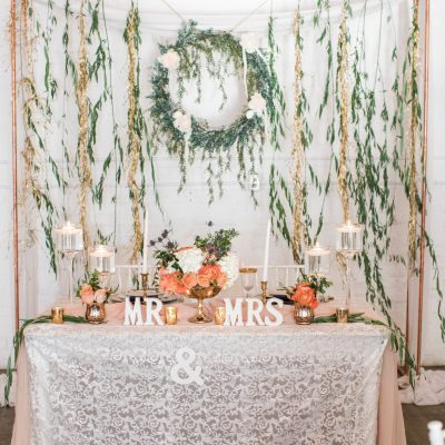 White Sequin Lace Table Linen