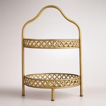 2 Tier Gold Mirror Stand