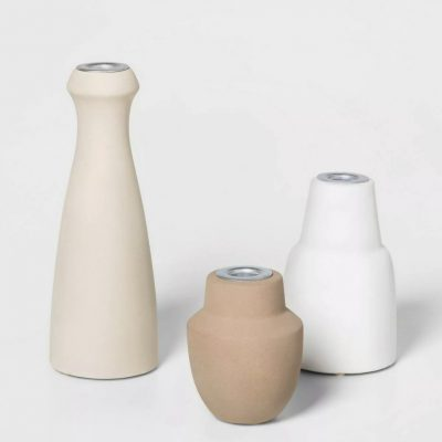 Matte Ceramic Taper Candle Holders (Set of 3)