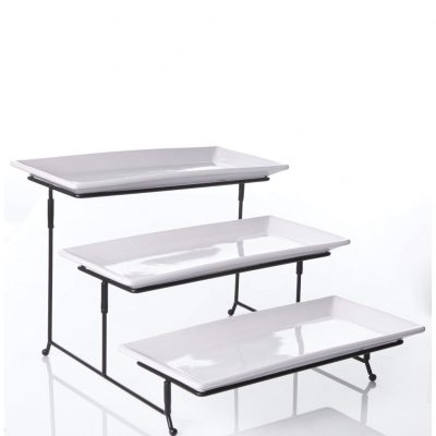Three Layer White Tray and Black Stands