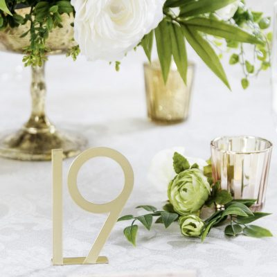 Gold Metal Free Standing Table Numbers