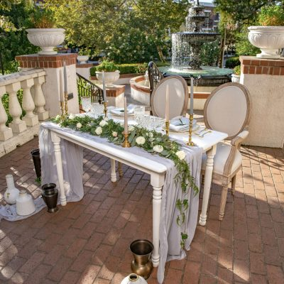 White Wood Sweetheart Table